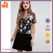 New Design Fashion Flower Print Ladies Tops with Women Fashionable Blouses