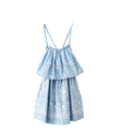 printed shoulder strap ruffle dress Spaghetti Strap off shouder casual dress