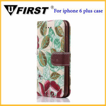 Official original fold embroidery flowers PU leather smart cover case for iphone 6 plus