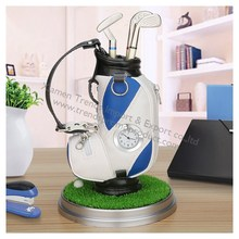 Green grass base 6-piece set Mini desktop aluminum alloy golf bag pen holder with golf pens clock