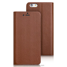 Factory Wholesale Soft Cowhide leather flip genuine leather case for iPhone6 plus with stand