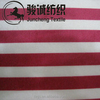 Polyester printed stripes pattern imitated cotton fabric