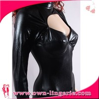 sexy girl leather bodysuit, black bodysuit, women leather bodysuit