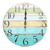 Customized colorful and vintage decorated wood wall clock for decoration hotel coffee bar and apartment
