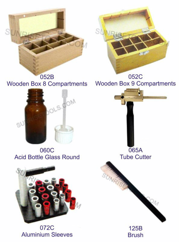 Acid Bottle, Wooden Box, Tube Cutter, Aluminium Sleeves