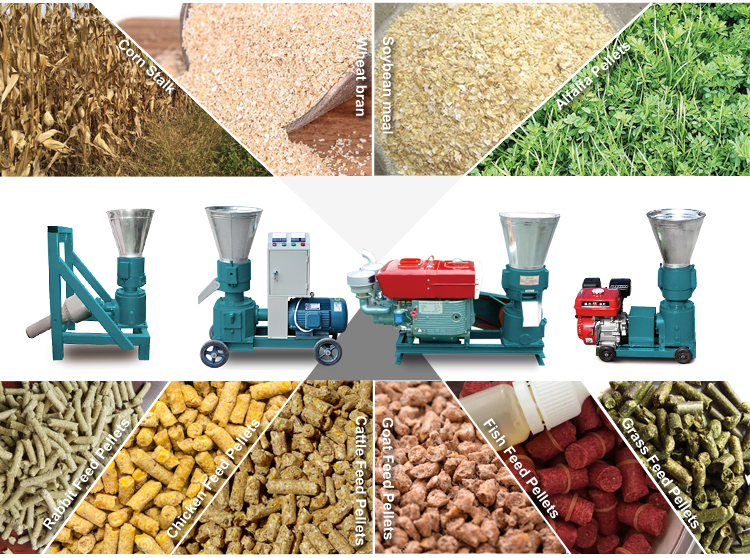 Wholesale price homemade diesel small capacity catfish pig rabbit poultry chicken feed pellet machine