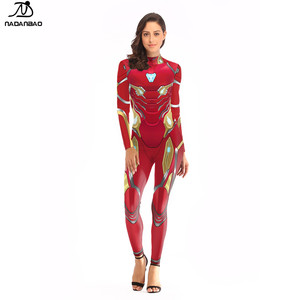 NADANBAO Brand 2019 hot sale custom high quality sexy 3d printed marvel avengers super hero iron Man women jumpsuit