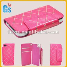 New Luxury Diamond PU Leather Skin Wallet Card Pouch Case Cover For iphone 4 4G 4S Pink