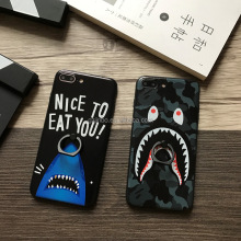 Fashion soft tpu camouflage shark mobile phone case for iPhone 6 7 8 plus, color paiting cell phone case with ring holder