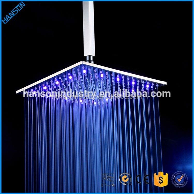 Hanson square 12 inch All New Rainfall hydro power led shower head