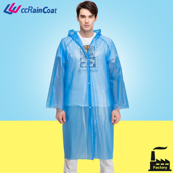 blue peva cape disposable plastic raincoats