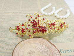 Red/silver Flying Butterfly Crystal Rhinestone Hair Tiara Crown Bridal Hair Accessories