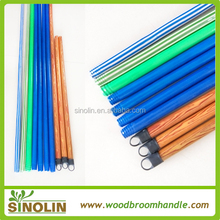SINOLIN Eco-friendly eucalyptus wood timber pvc coated wooden broom handle with plastic cap no hook