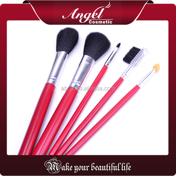 5 Pcs Synthetic Hair Mini red handle makeup brush kit