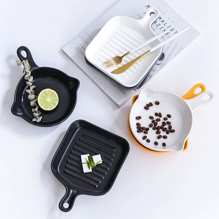 German flat bottom gray color hand made hotel ceramic porcelain cookware set for dishes