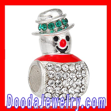 Authentic Sterling Silver Enamel Magical Snowman Beads with Austrian Crystal for Necklace