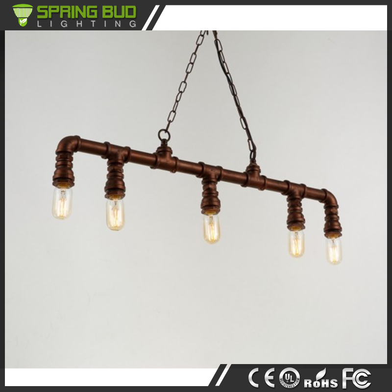 AC 90-260V E27 loft country style rust colored water Pipe Ceiling hanging lamp