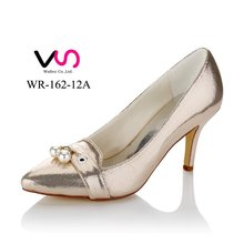 2017 New pearl point toe with fashion glitter women party bridal shoes WR-162-12A wedding shoes cheap made in china