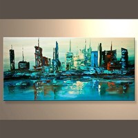 Contemporary Abstract City Modern Palette Knife Oil Painting
