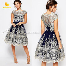 Women's evening elegant dresses Lace Mesh Embroidery lady dress 2017 summer