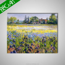 Village colorful flower field 100% handmade landscape oil painting on canvas