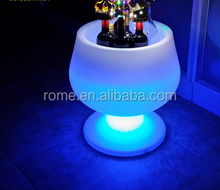 decorative illuminated rgb color changing party ice bucket led beverage tub with stand