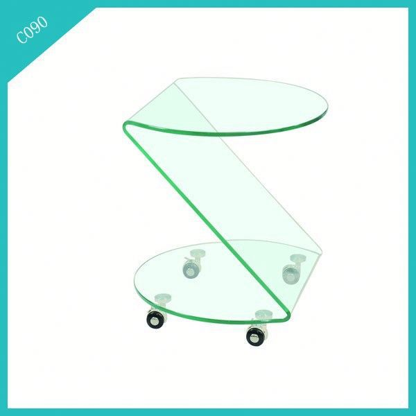 modern cheap glass coffee table wheels made in china