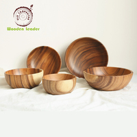 High Quality Natural Wood Bamboo Customized LOGO Wooden Salad Bowl
