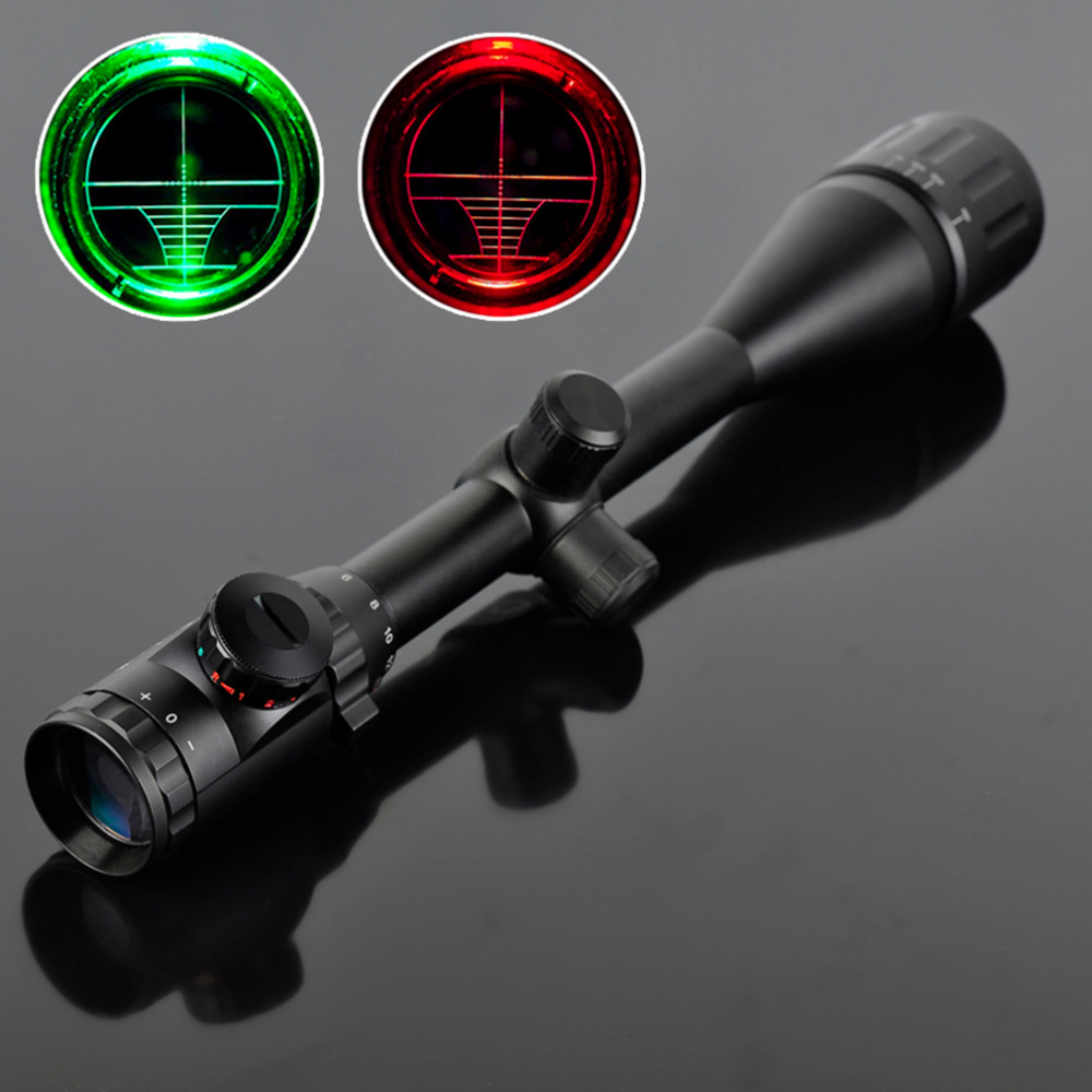 6-24X50 Riflescope Adjustable Green Red Dot Hunting Light Tactical Scope Reticle Optical Sight Scope free shipping