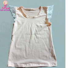 Baby Infant Girls Solid Cotton Vest Tank Tops Wing Lace flutter T-shirt Blouse Casual Tops peach kids lace flutter shirts