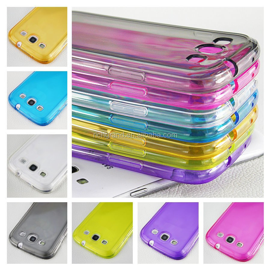 Clear rubber glossy TPU skin soft back case cover for Samsung galaxy s3 i9300