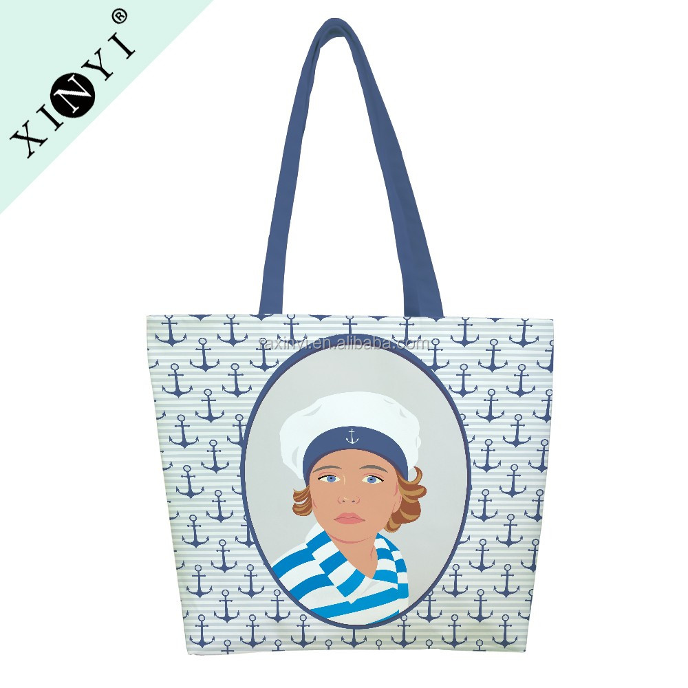 Eco friendly fashion travel canvas shopping bag wholesale reusable handle tote bag custom printed