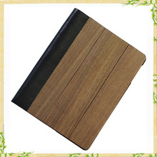Shenzhen Mobile Phone Accessories Wood Flip Leather Case For Ipad 2 3 4 5