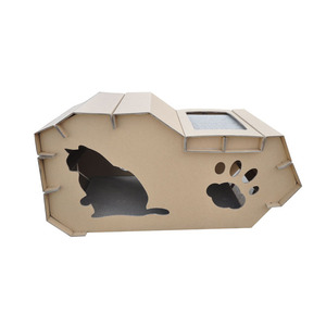 Cat tree house pet cage with cardboard corrugated pad