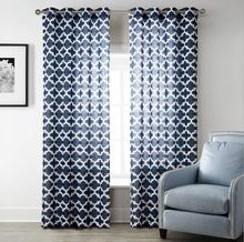 1-Piece Navy Blue Geometric Curtains For Living Room Window Curtain For Bedroom Drapes Kitchen Curtains Machin Washable