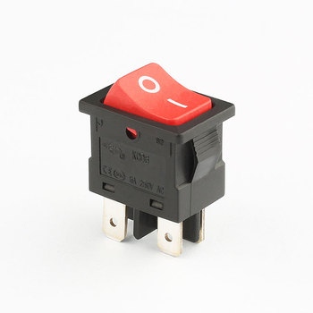 KCD6 6A 250V AC black red on off rocker switch