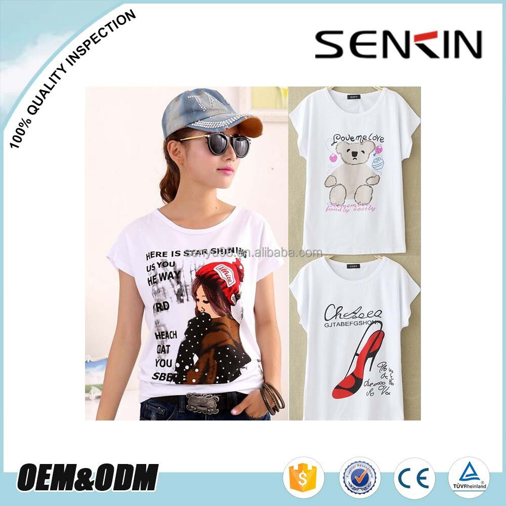 Wholesale Cartoon Printing tee Shirt design Custom your own pattern Women Thin White Plain t shirts OEM