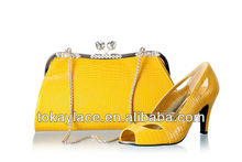 2013 high quality wholesale ladies yellow Italian party shoes and matching bags