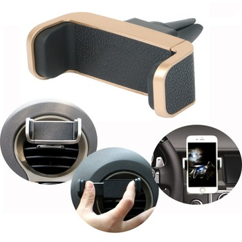 New Arrival PU Leather Air Vent Phone Holder Grip Universal Mobile Car Stand Mount 360 Rotation