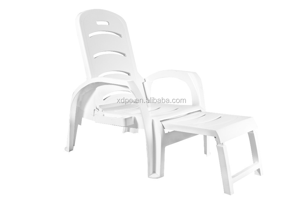 Custom New Design Excellent Material PP Softable Cheap Plastic Beach Sun Lounge Chair
