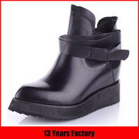 2015 new model sexy black leather boots women increasing wedge ankle boot