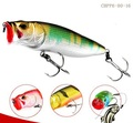 CHPP6-80-16 fishing minnow lure 80mm 16g 3D eyes popper bait Luminous red head with water hole