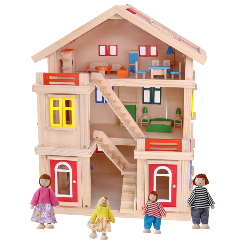Happy Family Wooden Toy Diy Dollhouse With Colorful Dolls