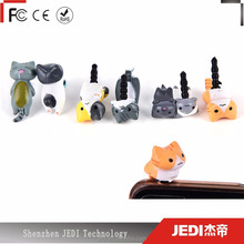 Cute cheese cats 3.5mm dirt-resistant jack adapter anti dust plug to phone stopper_HL4149
