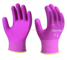 SuperFlex 15g Blue/Pink nylon&spandex liner Microfoam nitrile & Waterbased PU palm coated work glove, EN388 3131
