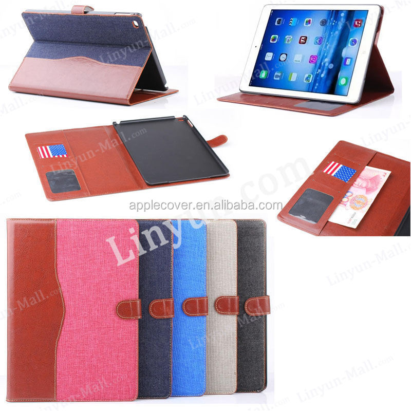 China supplier Jeans two colors design leather case for iPad air2 with credit card and cash slots