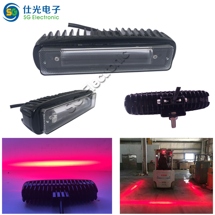 DC 10-80V Red Zone Safety Light 18W for Forklift Danger Side and Rear Warning Light