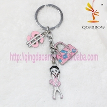 Hot sale sute custom metal name keychain for girls