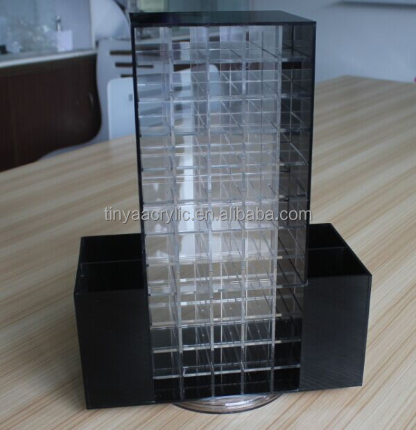 Alibaba China Supplier Acrylic Display For lipstick, Table Counter Rotating 120 Slots Organizer Custom Lipstick Cosmetic Display