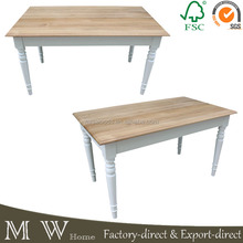 american white oak top white birch leg wood dining table, french provincial table, french dining table